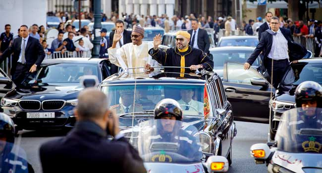 President Buhari Welcomed In Grand Reception In Morocco