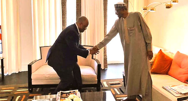 Akpabio Visits President Buhari In London